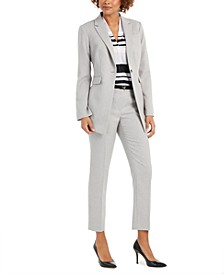 Twill One-Button Blazer, Striped V-Neck Top & Twill Belted Slim-Fit Pants