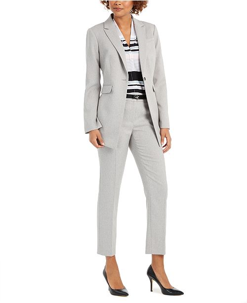 Calvin Klein Twill One-Button Blazer, Striped V-Neck Top & Twill Belted Slim-Fit Pants