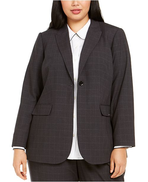 Calvin Klein Plus Size Windowpane Blazer