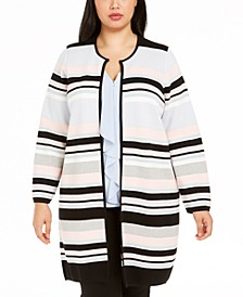 Plus Size Colorblocked Striped Cardigan