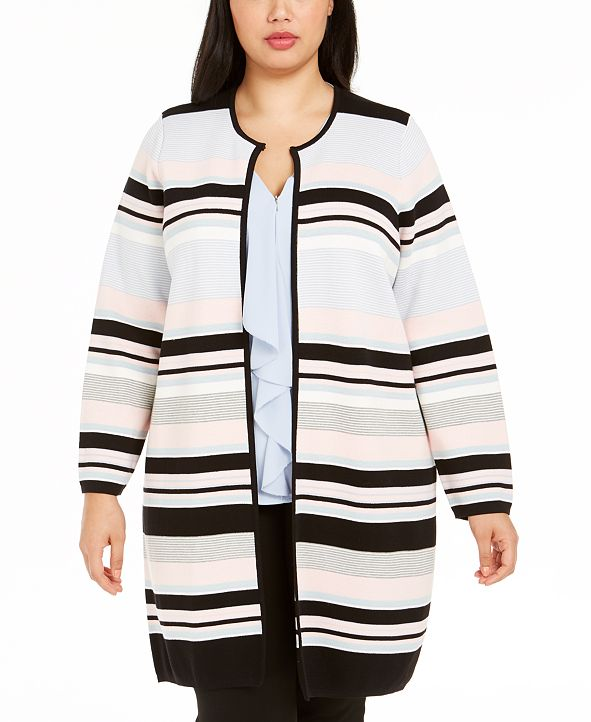 Calvin Klein Plus Size Colorblocked Striped Cardigan