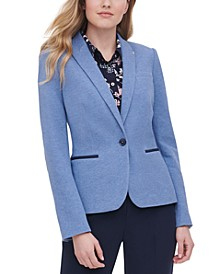 One-Button Elbow Patch Blazer