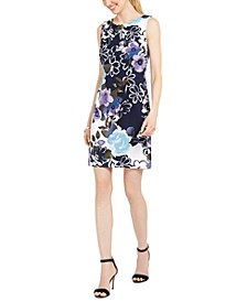 Petite Floral-Print Sheath Dress