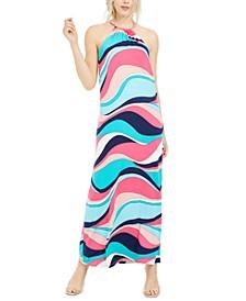 Milian Wave-Print Maxi Dress
