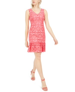 Trina Trina Turk Eyelet-Lace Flounce Dress