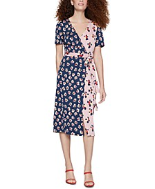 Floral-Print Midi Wrap Dress