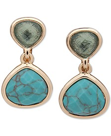 Gold-Tone Stone & Turquoise-Look Clip-On Double Drop Earrings