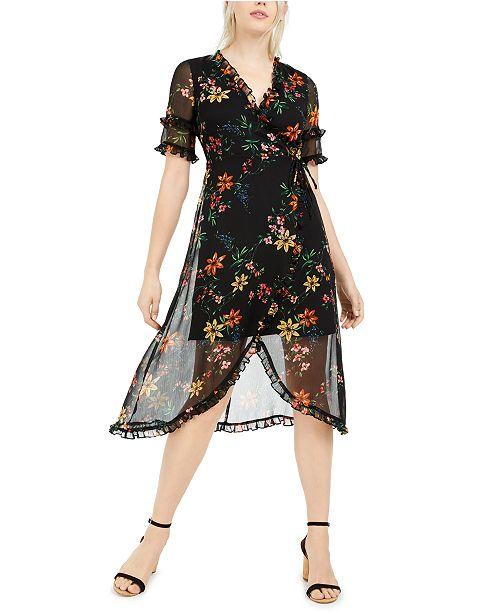 kensie Floral-Print Chiffon Midi Dress
