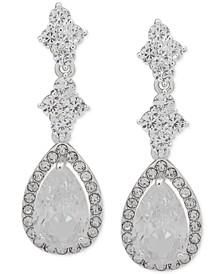 Silver-Tone Crystal Pear-Shaped Halo Drop Earrings