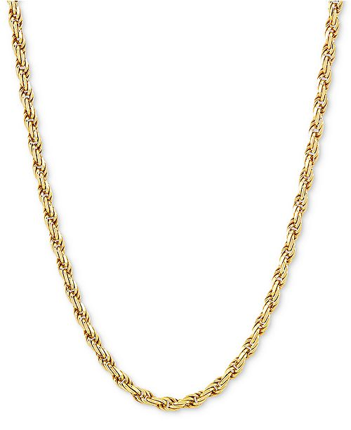 "Macy's Rope Link 22"" Chain Necklace in 18k Gold-Plated Sterling Silver"
