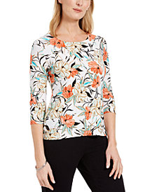 JM Collection Petite Floral-Print Top, Created for Macy's