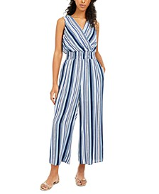 Juniors' Striped Cropped Jumpsuit