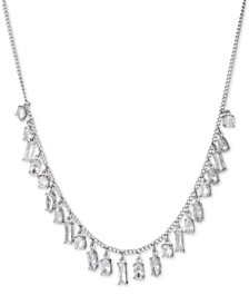"Silver-Tone Shaky Crystal Statement Necklace, 16"" + 3"" extender"