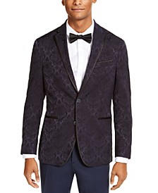 Men's Slim-Fit Navy Jacquard Evening Jacket, Created for Macy's