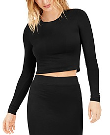 Bodycon Long-Sleeve Cropped Top, Created for Macy's