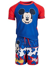 Toddler Boys 2-Pc. Mickey Mouse Rash Guard & Swim Trunks Set
