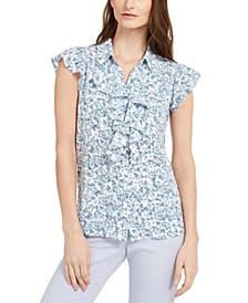 Printed Cap-Sleeve Button-Up Ruffled Blouse