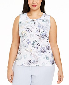 Plus Size Hardware-Trim Pleat-Neck Top