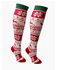 Women's Knee High Socks with Snowflakes and Reindeer Designs