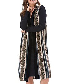 Led to Achieve Patterned Stripe Long Vest with Trim and Pockets
