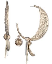 Two-Tone Bead & Bar Charm Hammered Crescent Hoop Earrings
