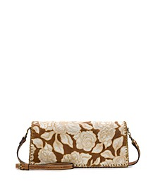 Natural Embroidery Casali Flap Leather Crossbody