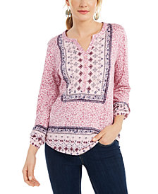 Style & Co Printed Roll-Sleeve Split-Neck Top, Created for Macy's
