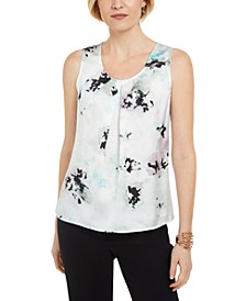 Floral-Print Pleated Sleeveless Top