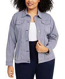 Plus Size Easy Street Checked Button-Up Jacket