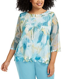 Plus Size Chesapeake Bay Floral-Print Overlay Top