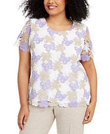 Plus Size Nantucket Crochet Short-Sleeve Top