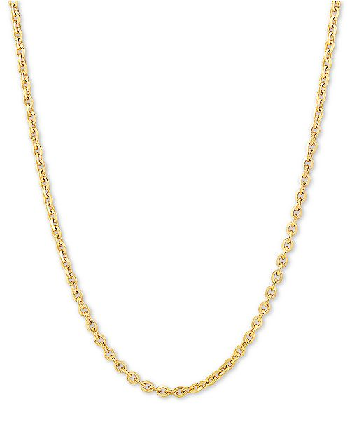 "Macy's Oval Cable 20"" Chain Necklace in 18k Gold-Plated Sterling Silver"