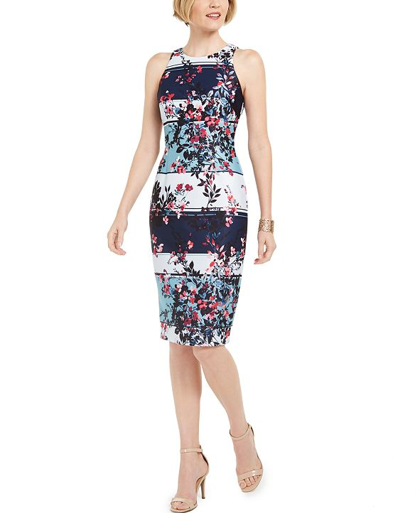 Adrianna Papell Wildflower Striped Sheath Dress