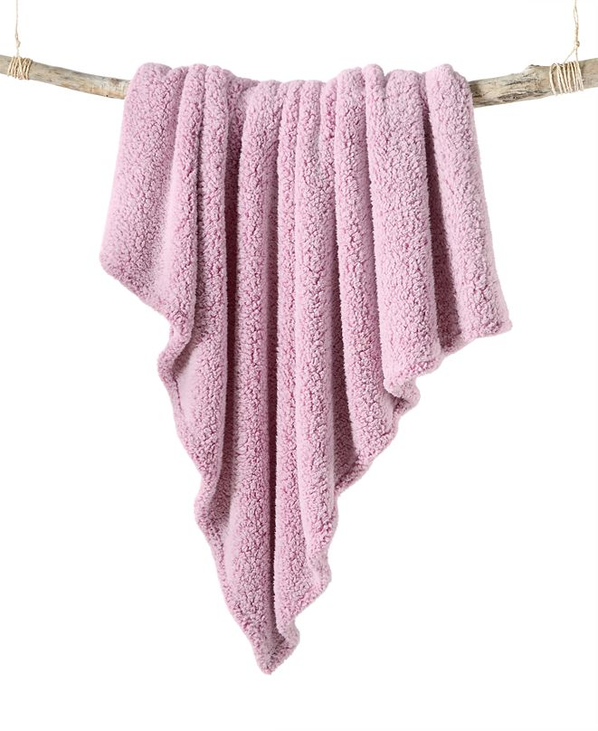 Martha Stewart Collection CLOSEOUT! Sherpa Throw, Created for Macy's