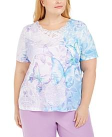 Plus Size Classics Butterfly-Print Lace-Trim Top
