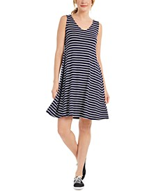 Striped Crossback Flared Dress, Created For Macy's