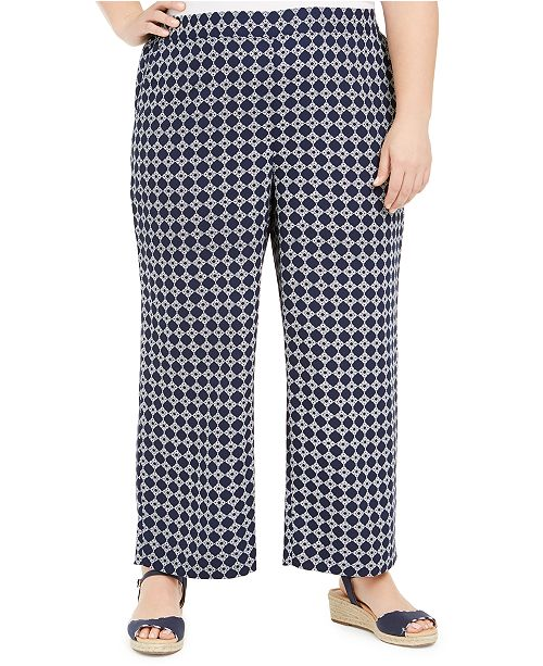Charter Club Plus Size Tyler Tile-Print Pants, Created for Macy's