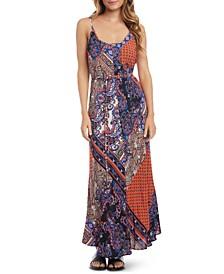 Patchwork-Print Belted Dress