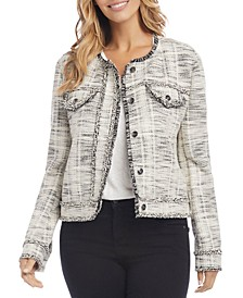 Marled Fringe-Trim Jacket