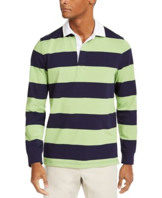 Mens BLUE BURGUNDY or WHITE Panelled Striped Long Sleeve Rugby Shirt