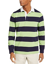 Men's Two-Tone Striped Long Sleeve Rugby Shirt, Created for Macy's