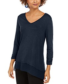 V-Neck Chiffon-Hem Top, Created for Macy's