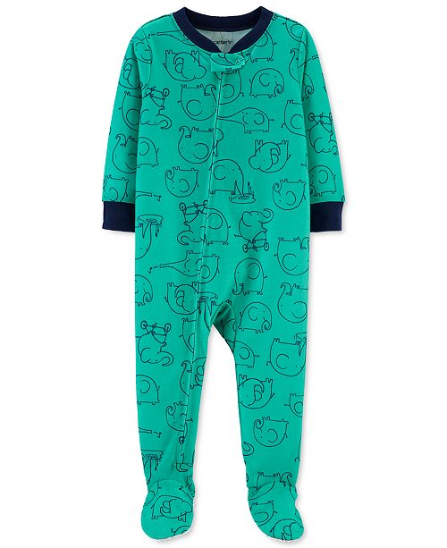 Carter's Baby Boys 1-Pc. Elephant-Print Footed Pajamas