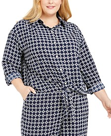 Plus Size Tyler Tile-Print Top, Created for Macy's