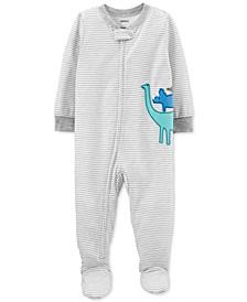 Baby Boys 1-Pc. Striped Dinosaurs Footed Pajamas