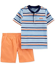 Baby Boys 2-Pc. Cotton Striped Henley T-Shirt & Poplin Shorts Set