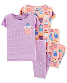 Baby Girls 4-Pc. Cupcake Cotton Pajamas Set