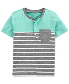Toddler Boys Cotton Striped Pocket Henley Shirt