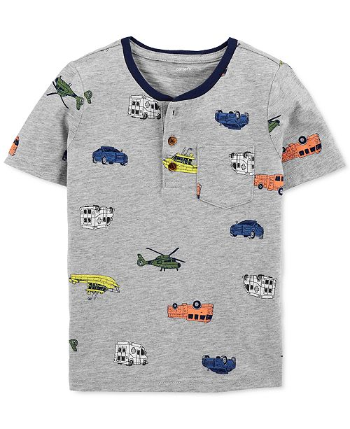 Carter's Toddler Boys Cotton Vehicles Henley T-Shirt