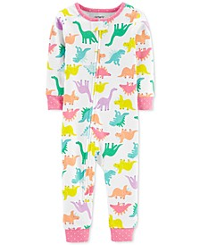 Baby Girls 1-Pc. Dinosaur-Print Cotton Pajamas